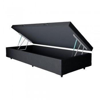Base box com Baú de Solteiro Courino Preto 3300