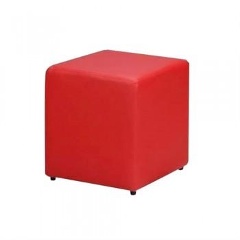 Pufe Quadrado Courino Vermelho 38x33x33