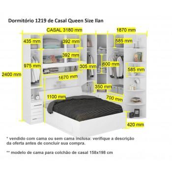 Dormitório Queen Size Completo 1219 Noce Málaga