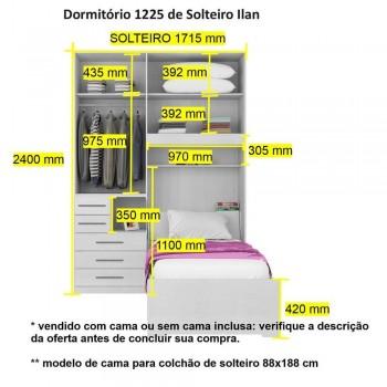 Dormitório De Solteiro 1225 Completo Esquerdo Noce Málaga