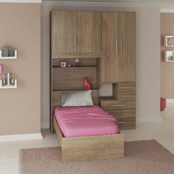 Dormitório De Solteiro 1225 Completo Direito Castanho