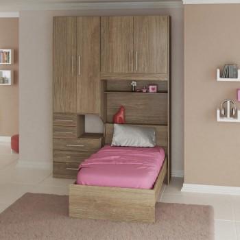 Dormitório De Solteiro Sem Cama 1225S Esquerdo Castanho