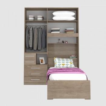 Dormitório De Solteiro Sem Cama 1225S Direito Castanho