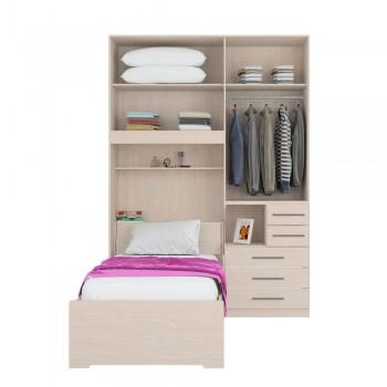 Dormitório De Solteiro 1225 Completo Direito Carvalho Claro