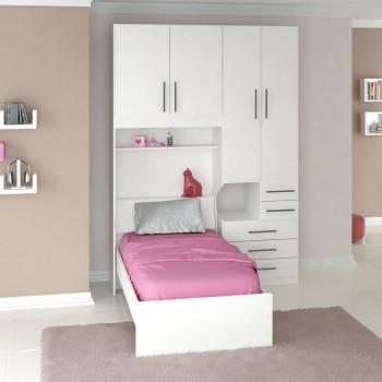 Dormitório De Solteiro 1225 Completo Direito Branco
