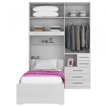 Dormitório De Solteiro Sem Cama 1225S Direito Branco