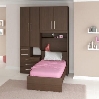 Dormitório De Solteiro Sem Cama 1225S Noce Málaga