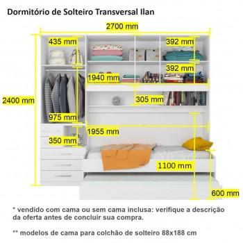 Dormitório De Solteiro Transversal Sem Cama 1326S Castanho