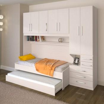 Dormitório De Solteiro Transversal 1326 Direito Carvalho Claro