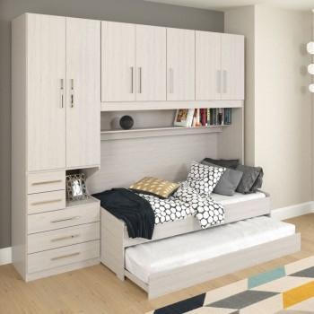Dormitório De Solteiro Transversal Sem Cama 1326S Esquerdo Carvalho Claro