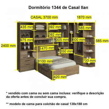 Dormitório De Casal Sem Cama 1344S Castanho