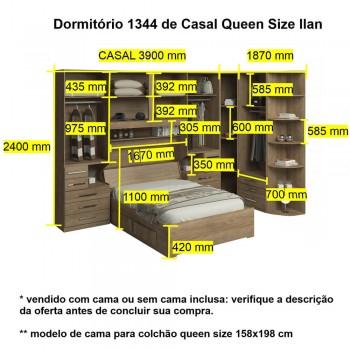 Dormitório Queen Size Completo 1344 Castanho