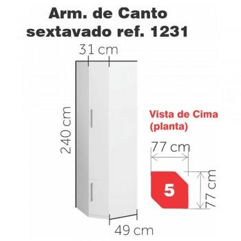 Armário de Canto Sextavado 1231 Ilan Castanho