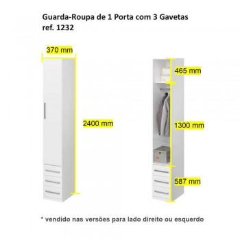 Guarda-Roupa De 1 Porta Com Gavetinhas 1232 Direito Noce Málaga