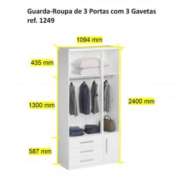 Guarda-Roupa De 3 Portas 1249 Noce Málaga