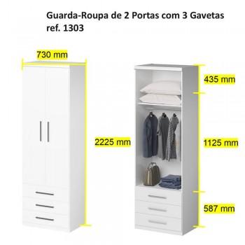 Guarda-Roupa De 2 Portas 1303 Ilan Carvalho Claro