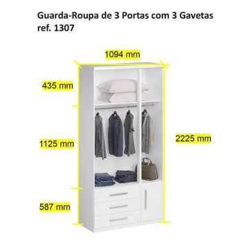 Guarda-Roupa De 3 Portas 1307 Ilan Carvalho Claro