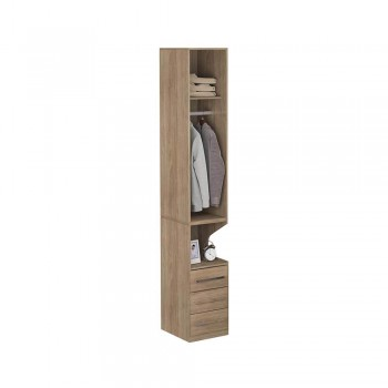 Guarda-Roupa De 1 Porta Com Mesa de Cabeceira 1416 Esquerdo Castanho