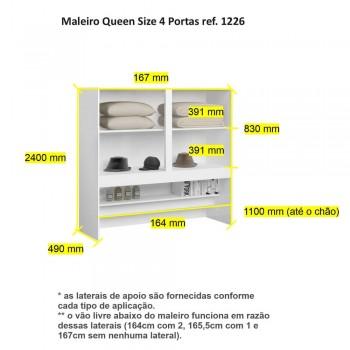 Maleiro 4 Portas Queen Size 1226 Ilan Carvalho Claro